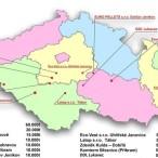 Mapa českých peletáren s výrobou nad 5 tisíc tun dřevěných pelet ročně